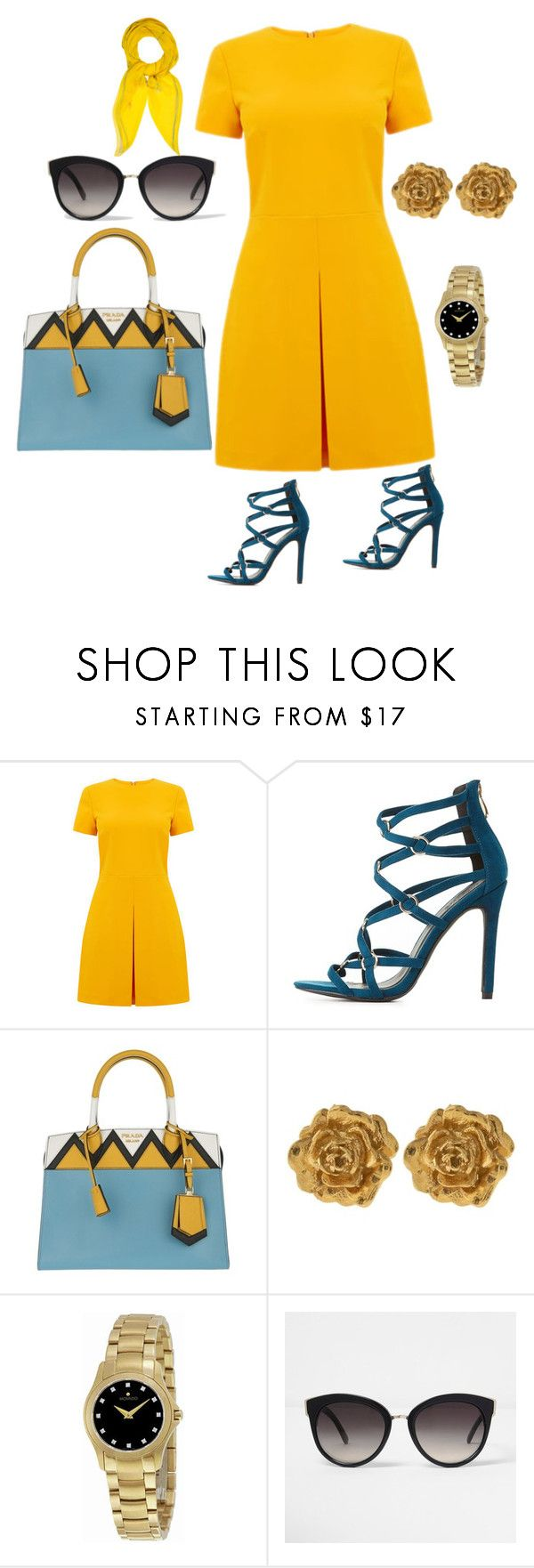 """Untitled #746"" by stylemirror ❤ liked on Polyvore featuring Warehouse, Charlotte Russe, Prada, Liberty, Movado, River Island and Hermès"