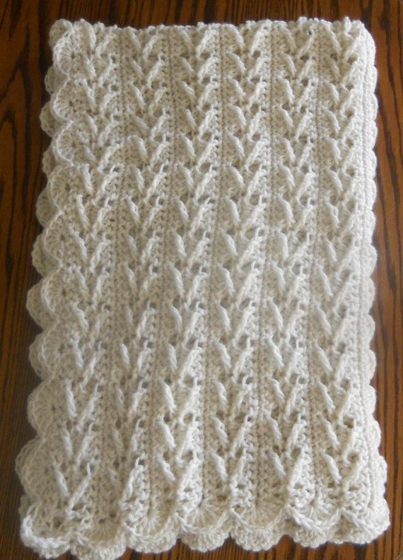 Crochet Afghan Lapghan 34x50 Ecru Arrow By