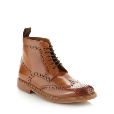 Tan leather ankle boots, Brogue boots