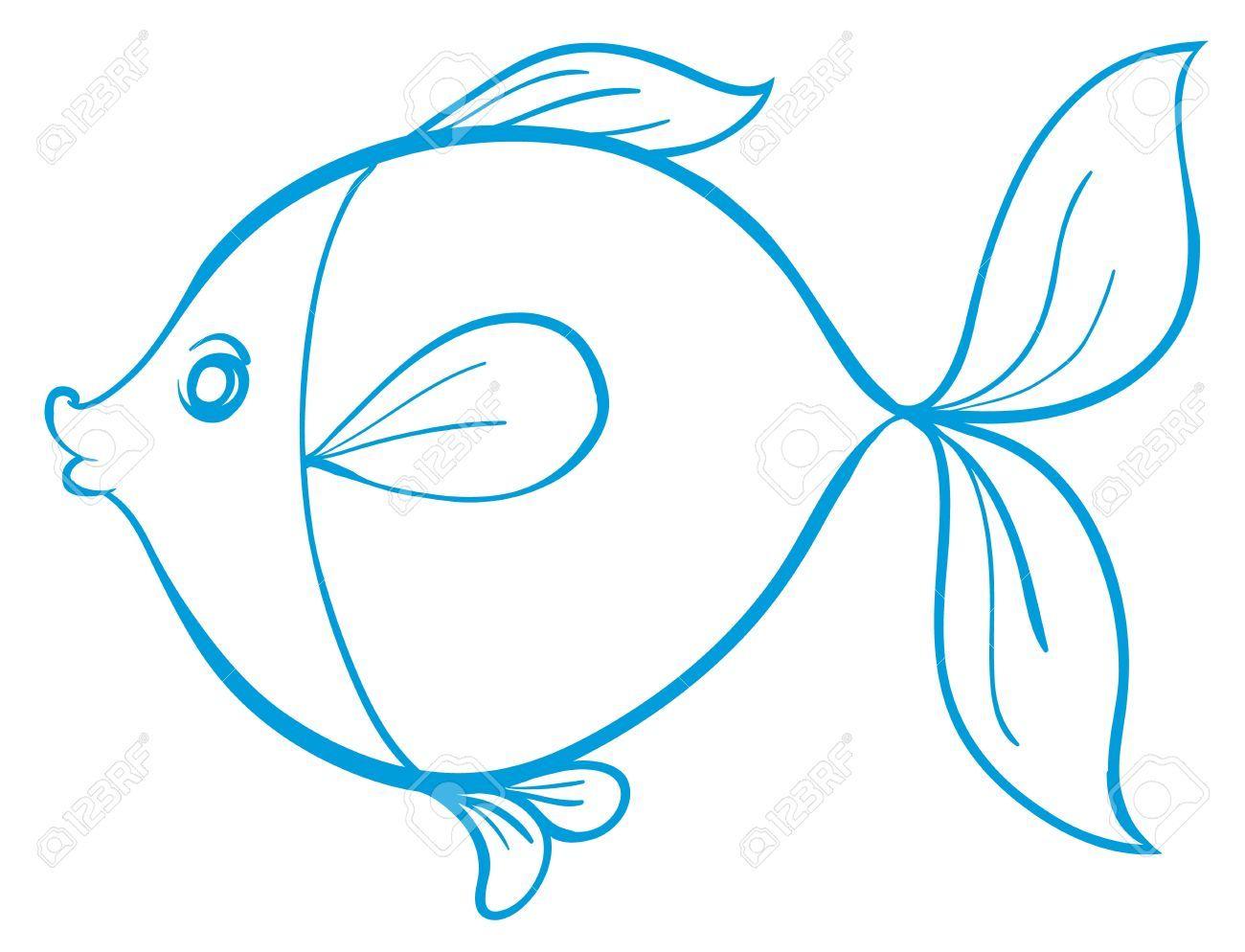 Silueta de pez. Líneas azules. Fondo blanco. | Escaparate ...