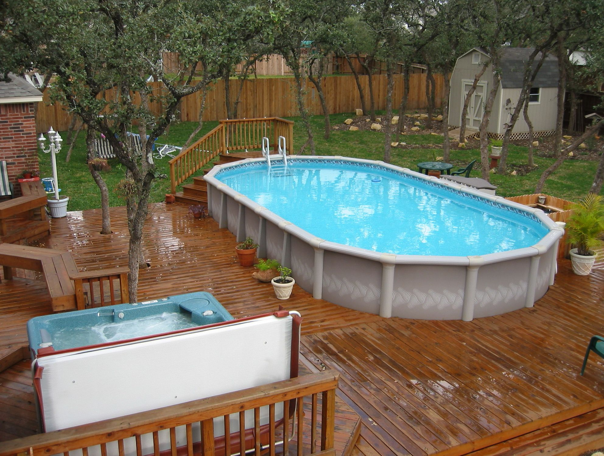 Swiming pools backyard ideas with above ground pools foyer - Above ground pools for small backyards ...