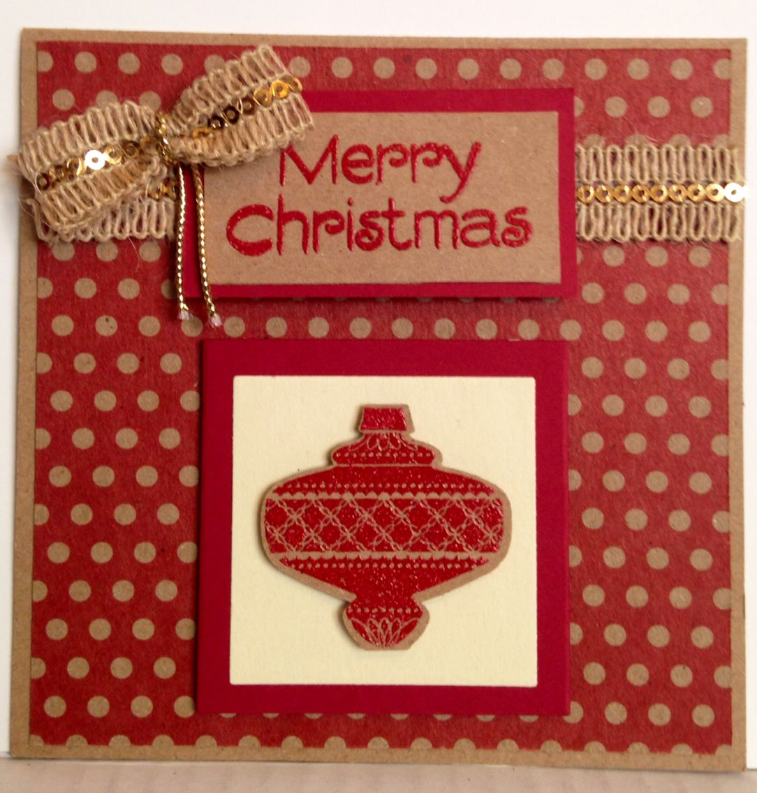 Christmas ornament punch by Stampin Up Christmas handmade card by ...