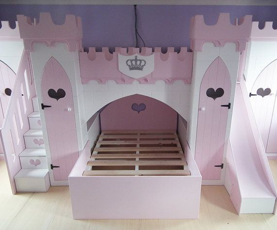 Children S Princess Castle Bunk Bed With Slide Stairs Wardrobes
