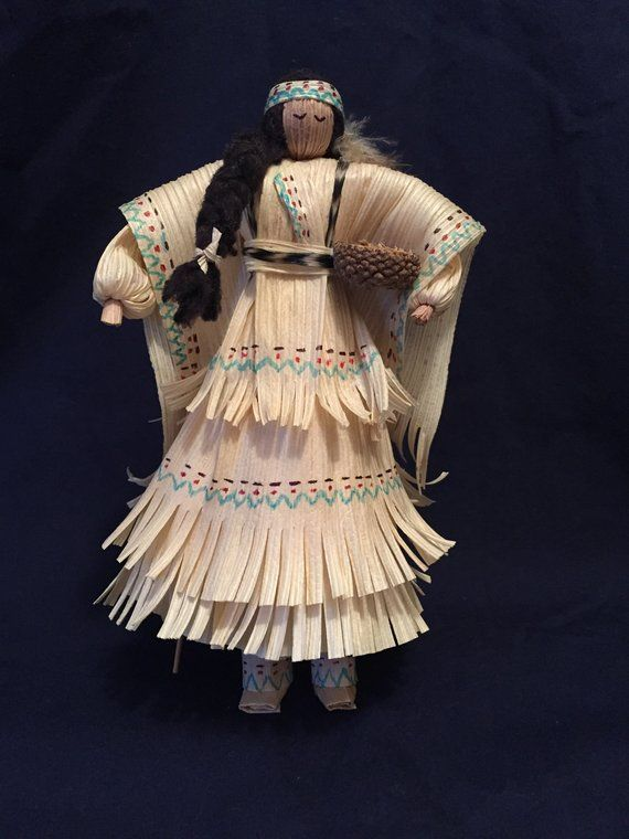 Royal blue Corn Husk Pine Cone Lady #indianbeddoll