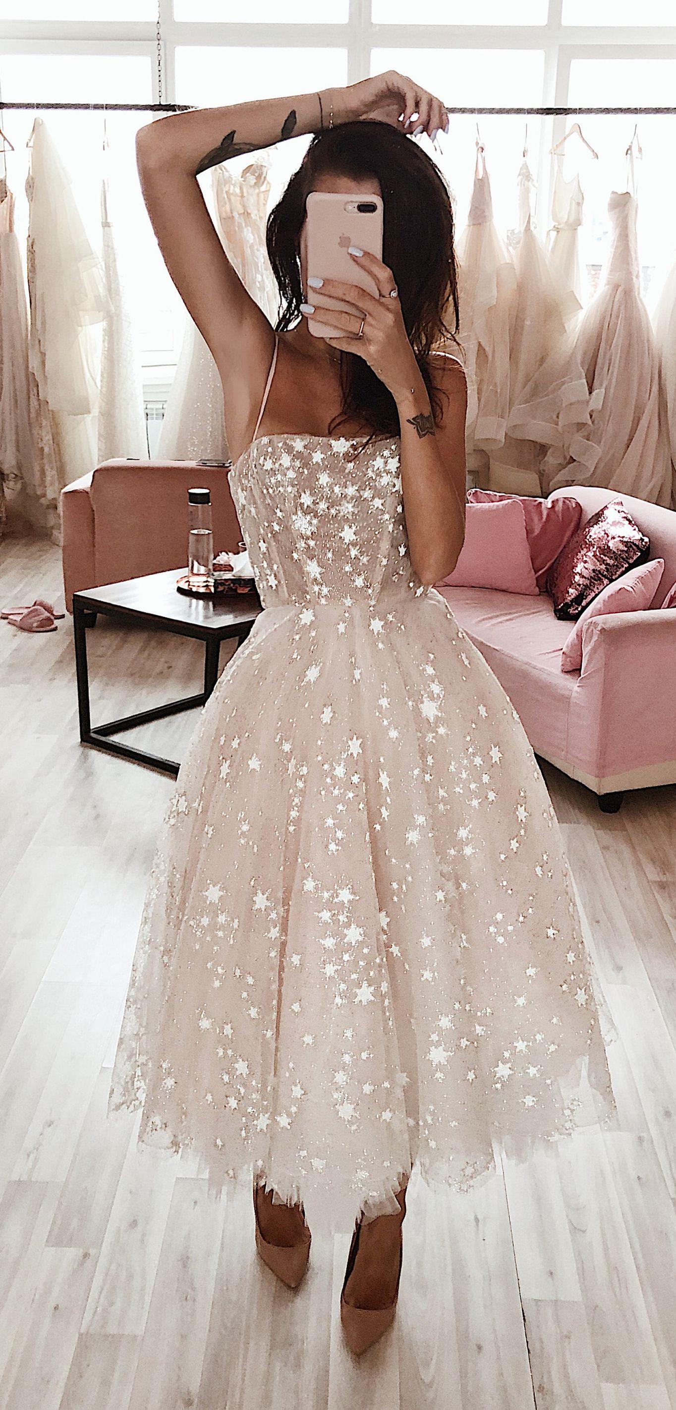 Dream Short Wedding Dresses Tea Legnth Pink Prom Dresses Unique A Line Prom Dresses With Beading Dres Midi Wedding Dress Sparkly Wedding Dress Gowns Dresses [ 2843 x 1364 Pixel ]