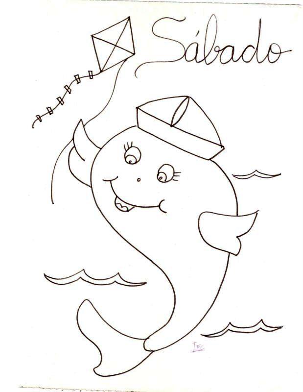 Peixe Com Chapeu De Marinheiro Riscos Para Pintura Bordados A
