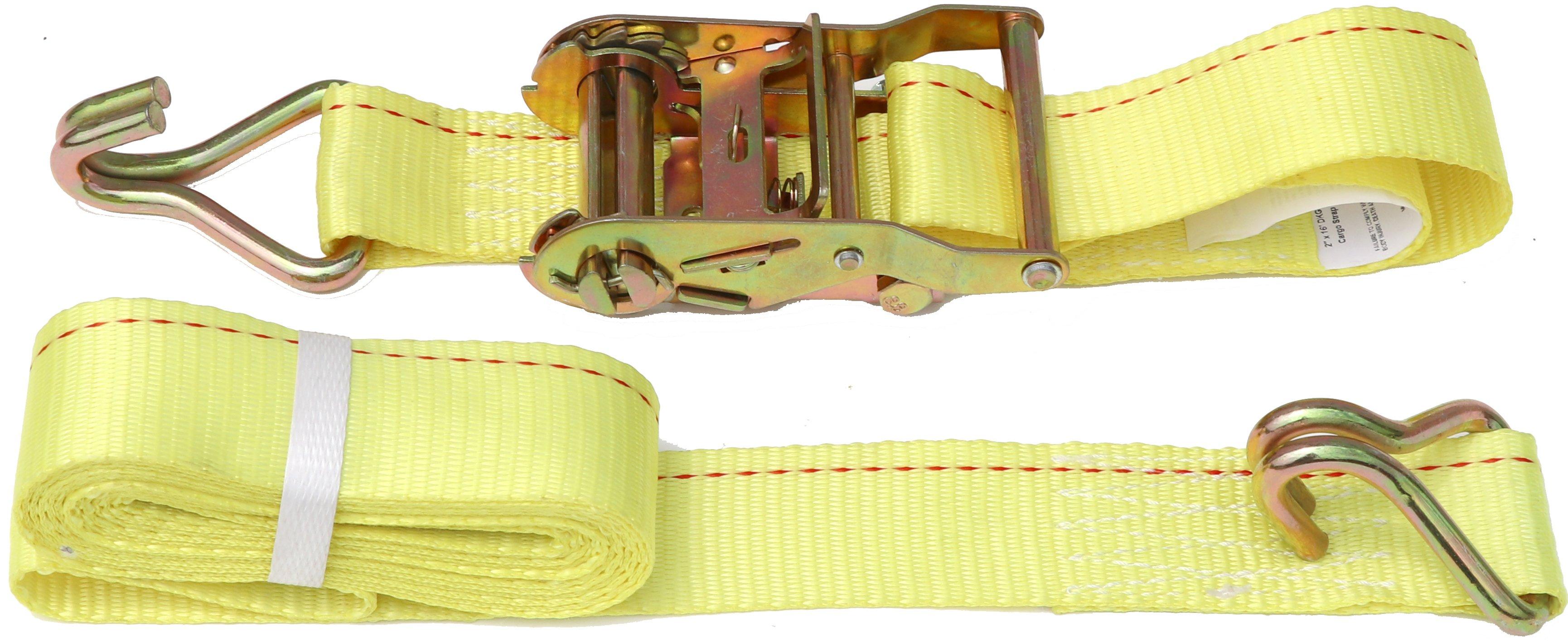 2 X 16 Dkg Double J Hook Strap With Ratchet Tie Down Cargo Ratchet Straps With J Hooksdurable Steel Hook Reliabl Ratchet Straps Weather Resistant Ratchet