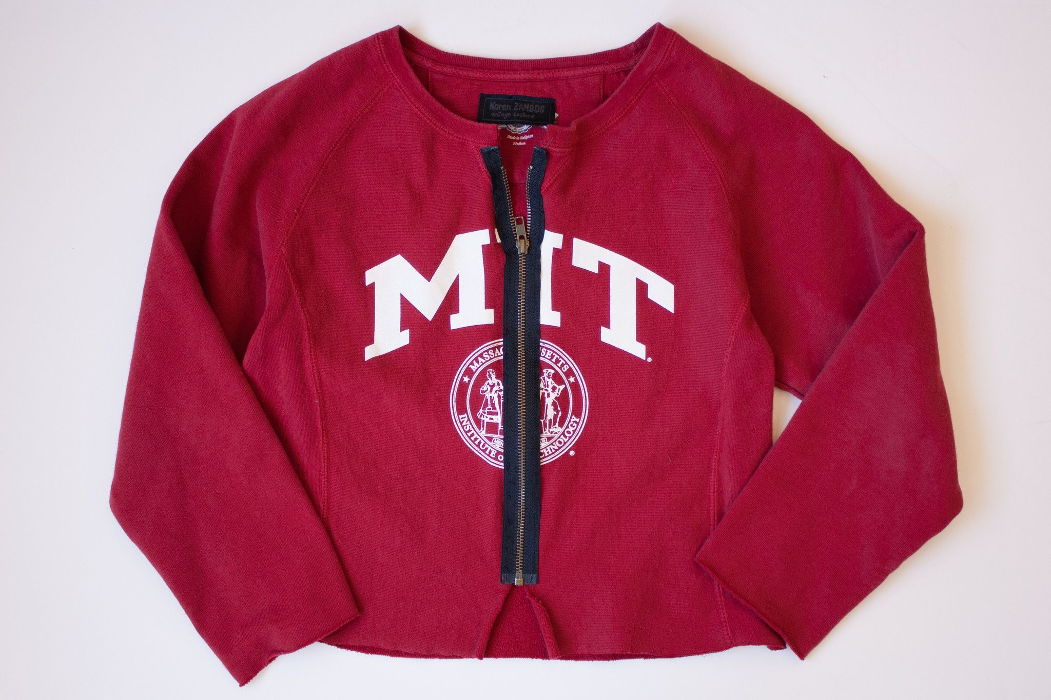 MIT vintage sweatshirt with exposed zipper. Customized by Karen Zambos. One of a kind. Fits like size Medium/Large.