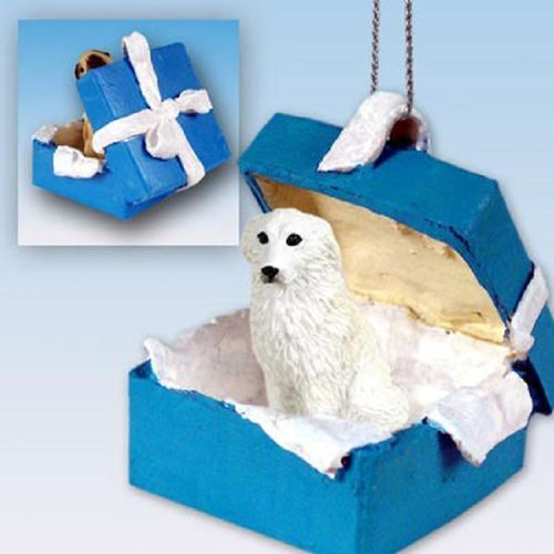 Great Pyrenees Dog Blue Gift Box Holiday Ornament