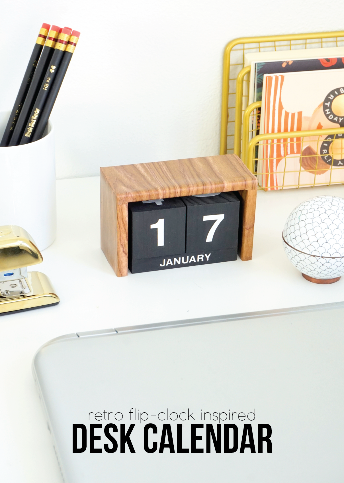 Flip Clock Inspired Desk Calendar Wooden Desk Calendar Diy Desk