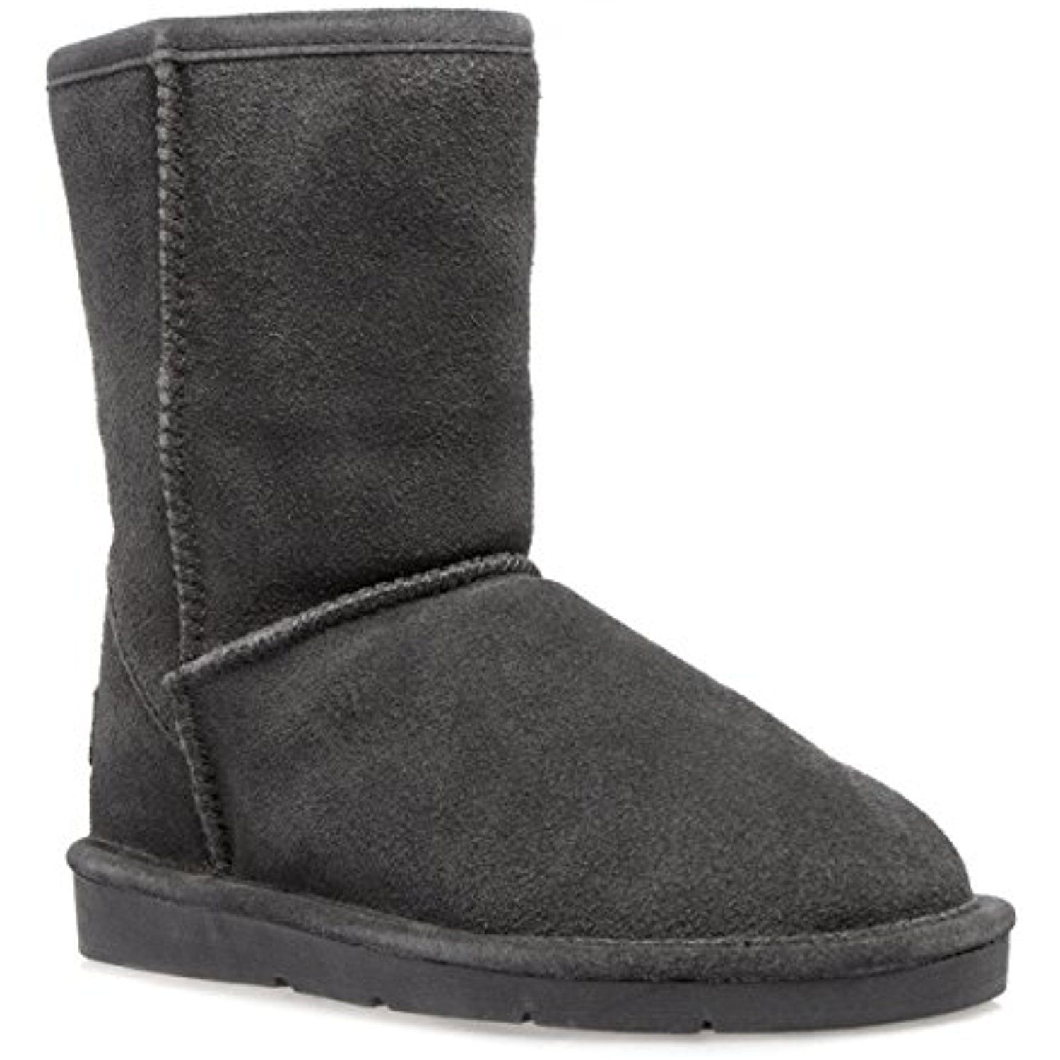 "Womens 47-8825W Round Toe 8"" Classic Short Mid Calf Winter Shearling Fur Boot Gray Suede"