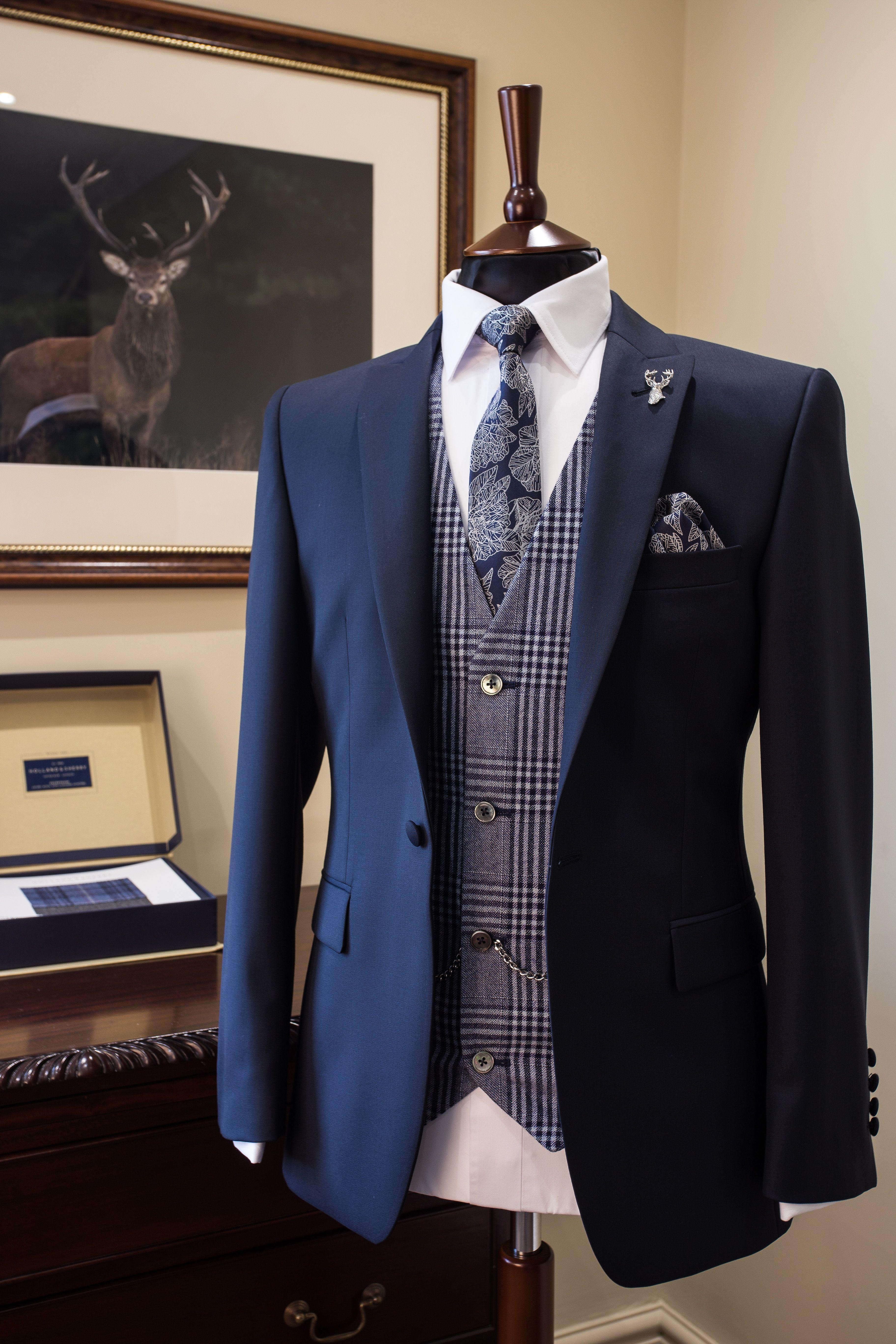 Slim fit navy suit blue check waistcoat groom wedding