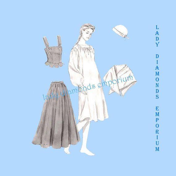 McCalls M4863 Womens Colonial Costume Dress Corset Skirt Shawl Cap ...