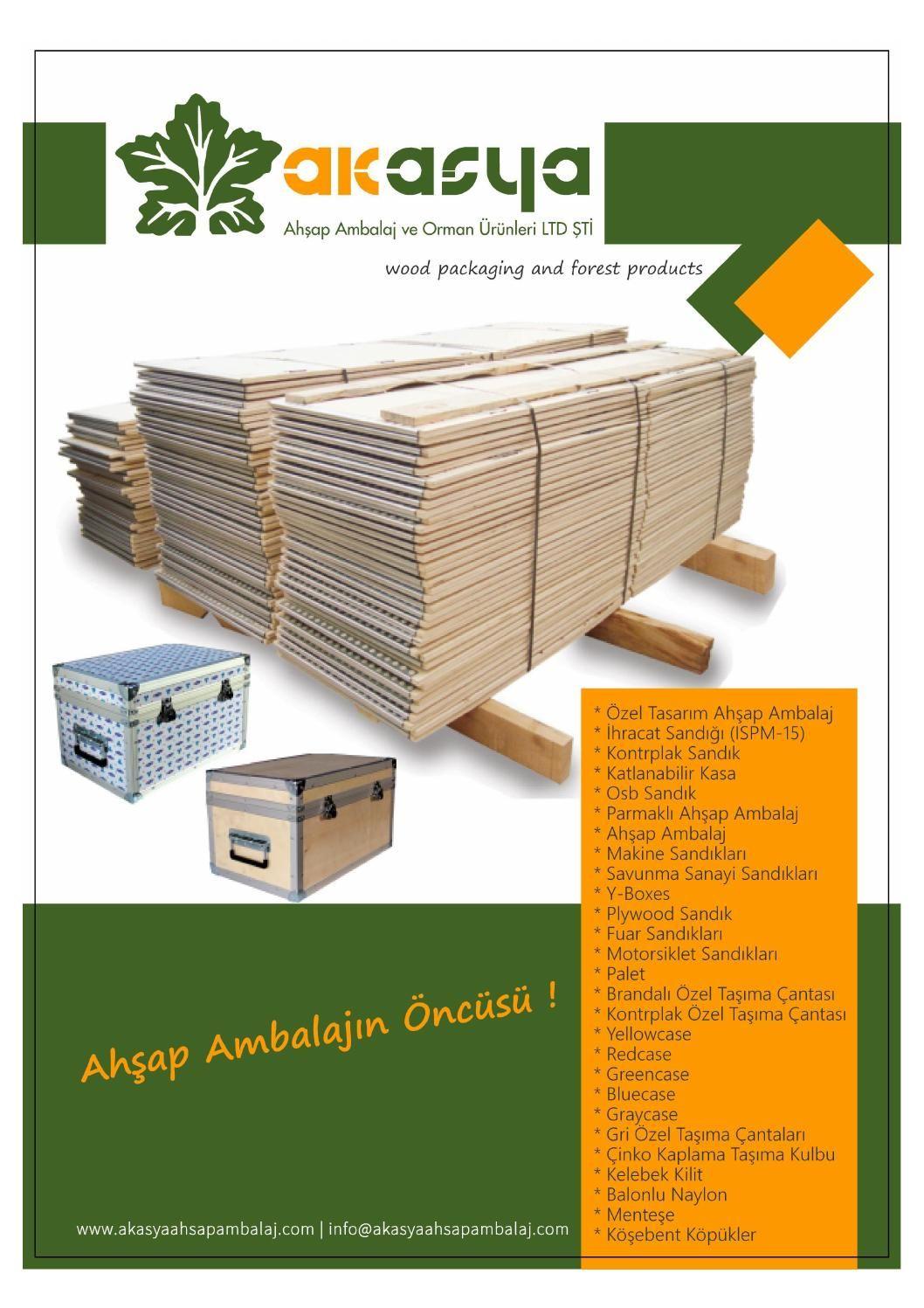 Akasya ahsap ambalaj | Katalog  Akasya Ahşap Ambalaj, firması adına hazırlanmış olan ürün kataloğu içerisinde. Osb sandık, kontrplak ahşap ambalaj, ahşap, y-pack, ihracat sandığı, ıspm-15, brandalı özel taşıma çantası, palet, parmaklı kasa gibi ürünlerin görsel ve metin olarak açıklamaları yer almaktadır. http://goo.gl/z3SDQo