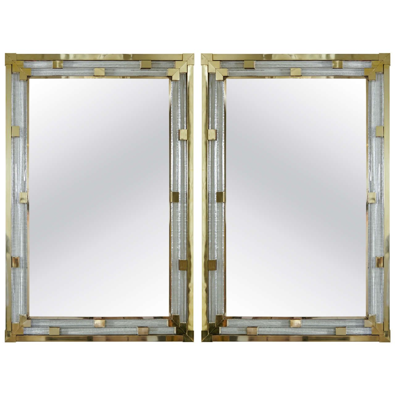 Pair Of Italian Art Deco Style Mirrors In Molded Gl And Polished Br
