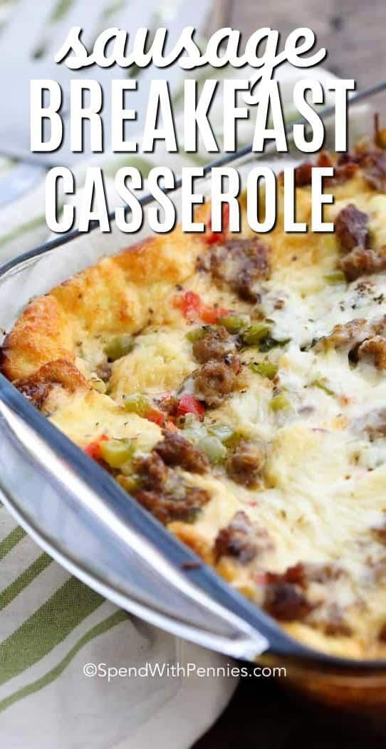 Overnight Sausage Breakfast Casserole is the perfect make ahead breakfast for guests or holidays! It's loaded with sausage, peppers, seasonings and cheese.