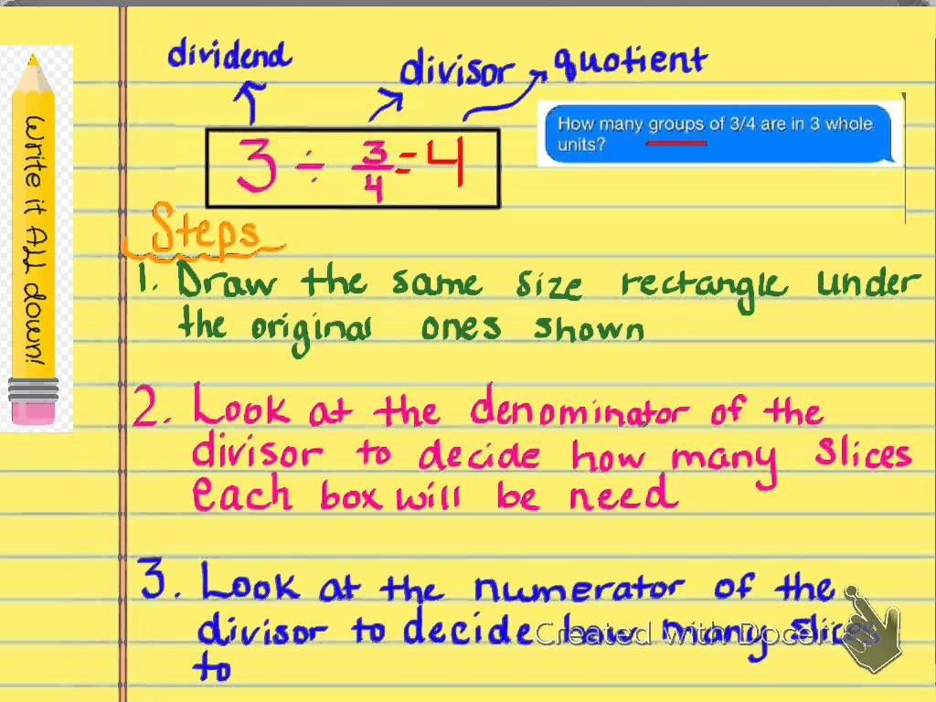 Divide Whole Numbers By Fractions Using Models