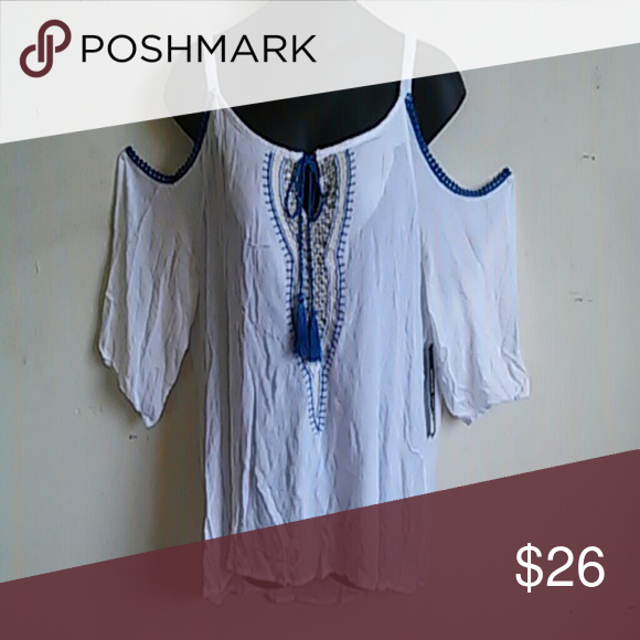 Blue embroidered cold shoulder top Blue embroidered design with gold detail & open shoulders 100% rayon Tops Blouses