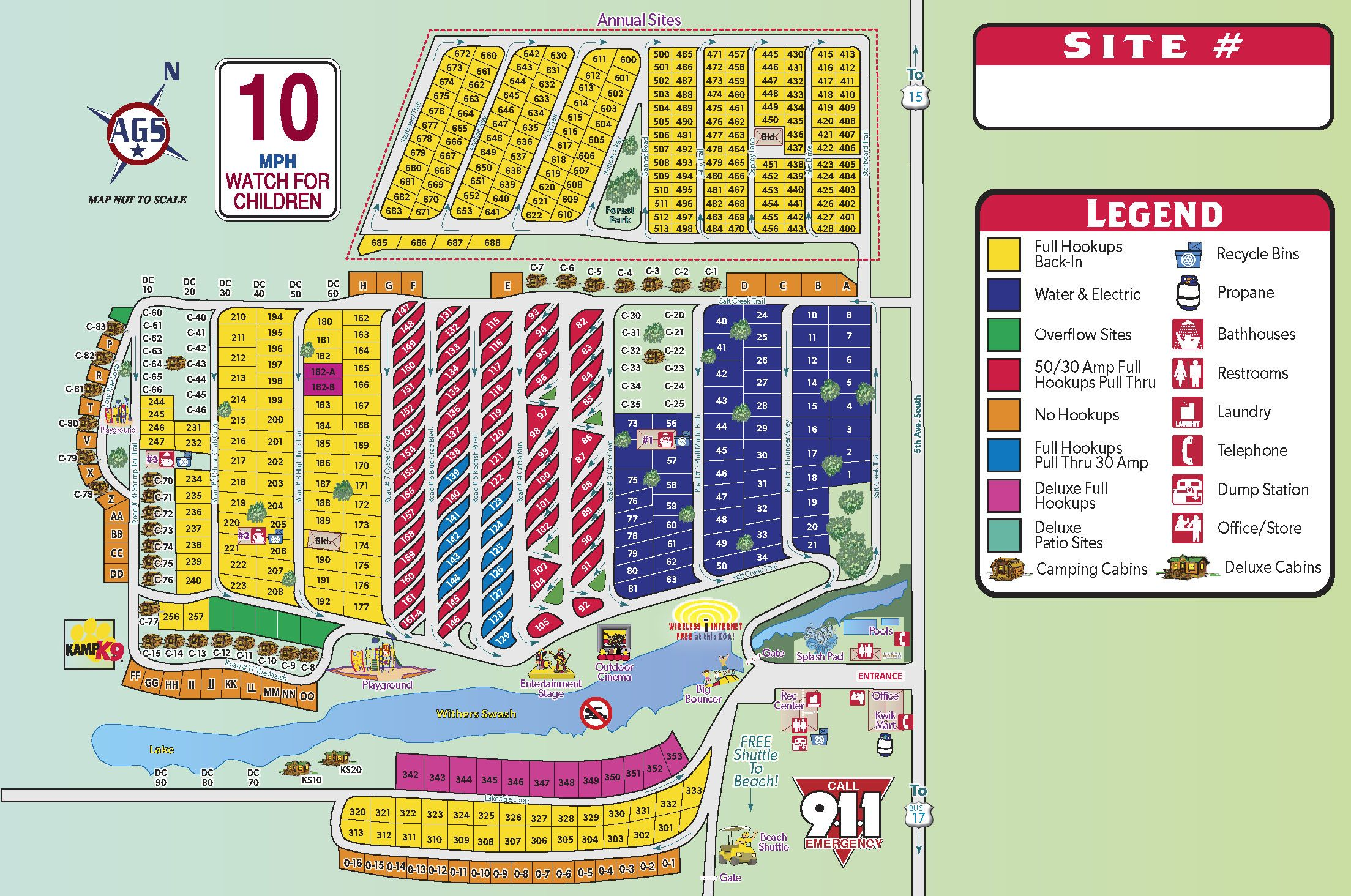 Campground Site Map Campground, Myrtle beach, Beach camping