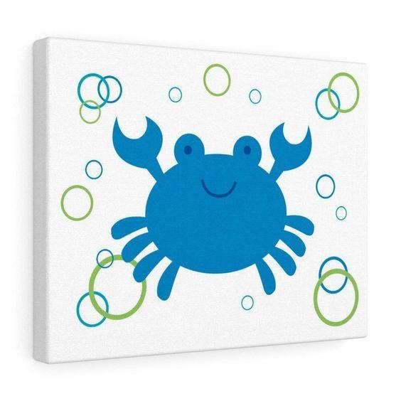 SEA LIFE CANVAS Nursery Baby Boy Wall Art Print Crab Ocean Animals Creatures - Blue Green Nautical Kids Room#animals #art #baby #blue #boy #canvas #crab #creatures #green #kids #life #nautical #nursery #ocean #print #room #sea #wall