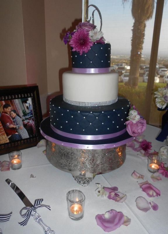 Our Navy Blue and Lavender Themed Cake :  wedding 599262 10200362799026197 637277816 N