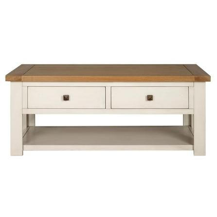 Good Finished In A Soft Shade Of Cream With A Natural Oak Veneer Top, Our Two  Tone Coffee Table Features A Spacious Shelf, Two Ample Sized Drawers And  Small ...