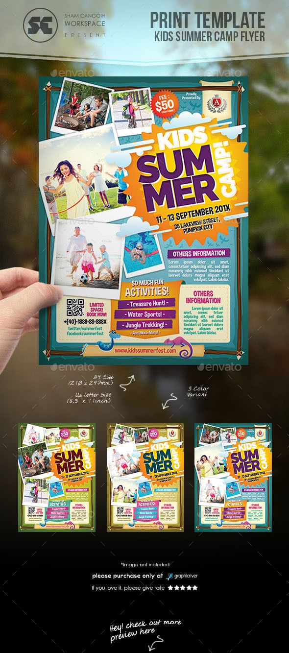 Kids Summer Camp Flyer | Kindersommer, Flyer und Sommer