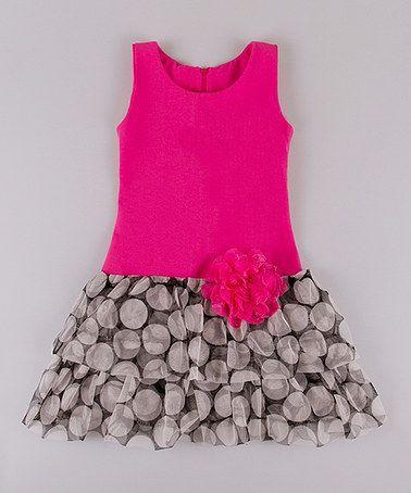 Another great find on #zulily! Rose & Black Spheres Drop-Waist Dress - Toddler & Girls #zulilyfinds