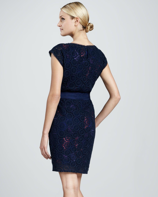 Elie Tahari Adella Lace Dress In Blue Navy Sapphire Lyst Dresses Lace Dress Adella Dress [ 1500 x 1200 Pixel ]
