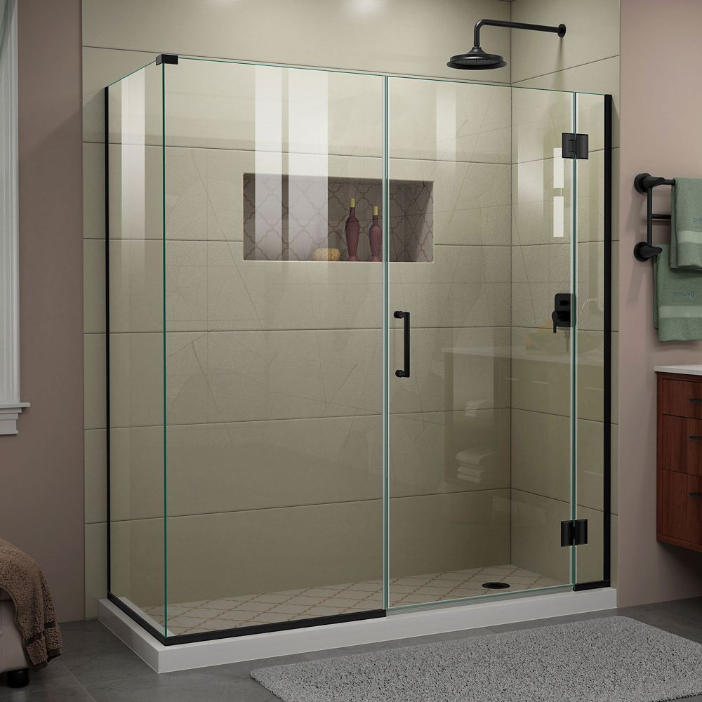 Unidoor X 63 1 2 Inch W X 34 3 8 Inch D X 72 Inch H Frameless Shower Enclosure In Satin Black Frameless Shower Doors Shower Doors Frameless Shower Enclosures