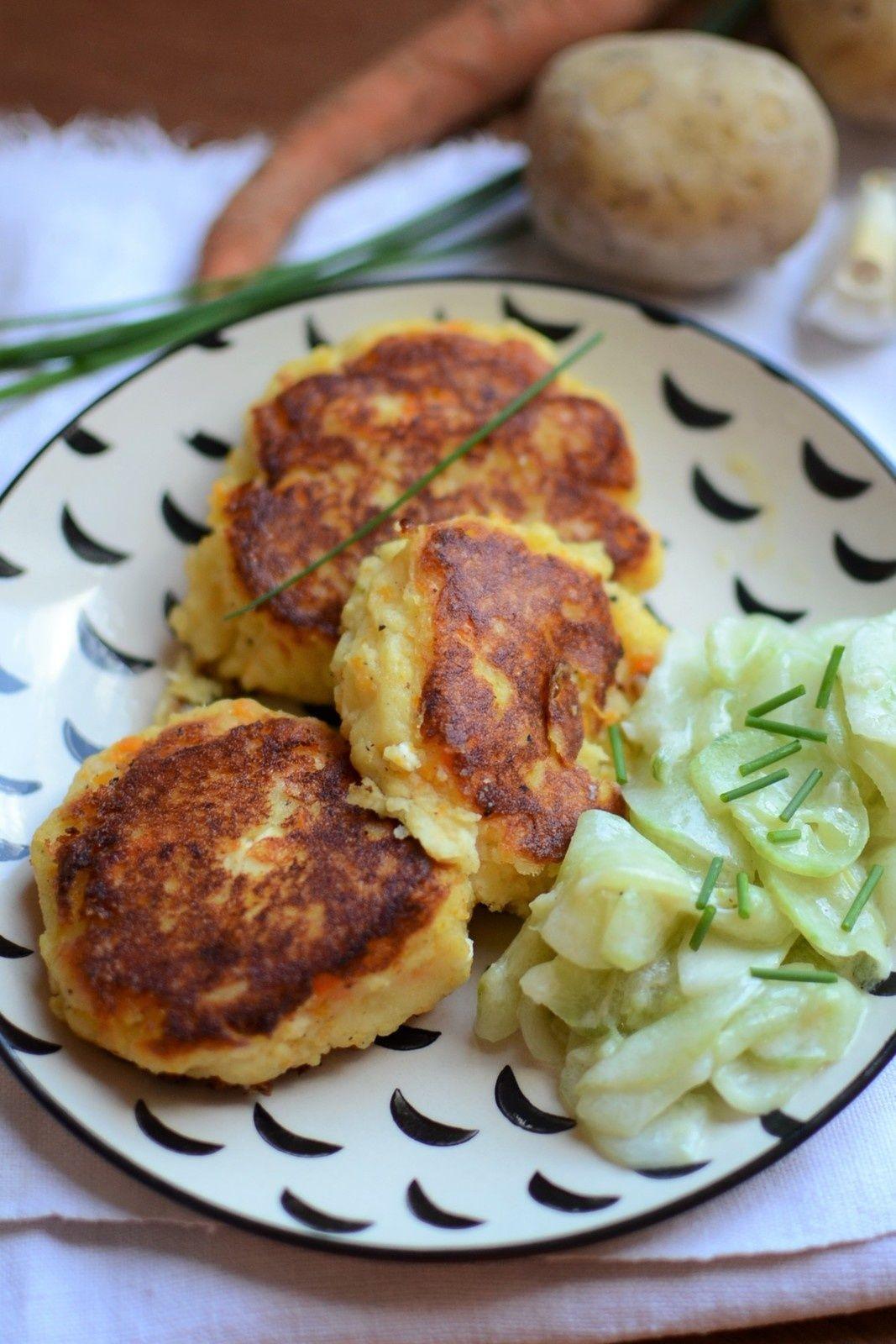 Galettes pommes de terre carotte féta #végétarien