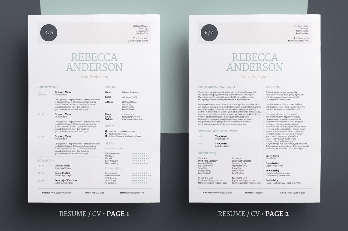 Elegant 2 Page Resume / CV template with Cover Letter & Mini ...