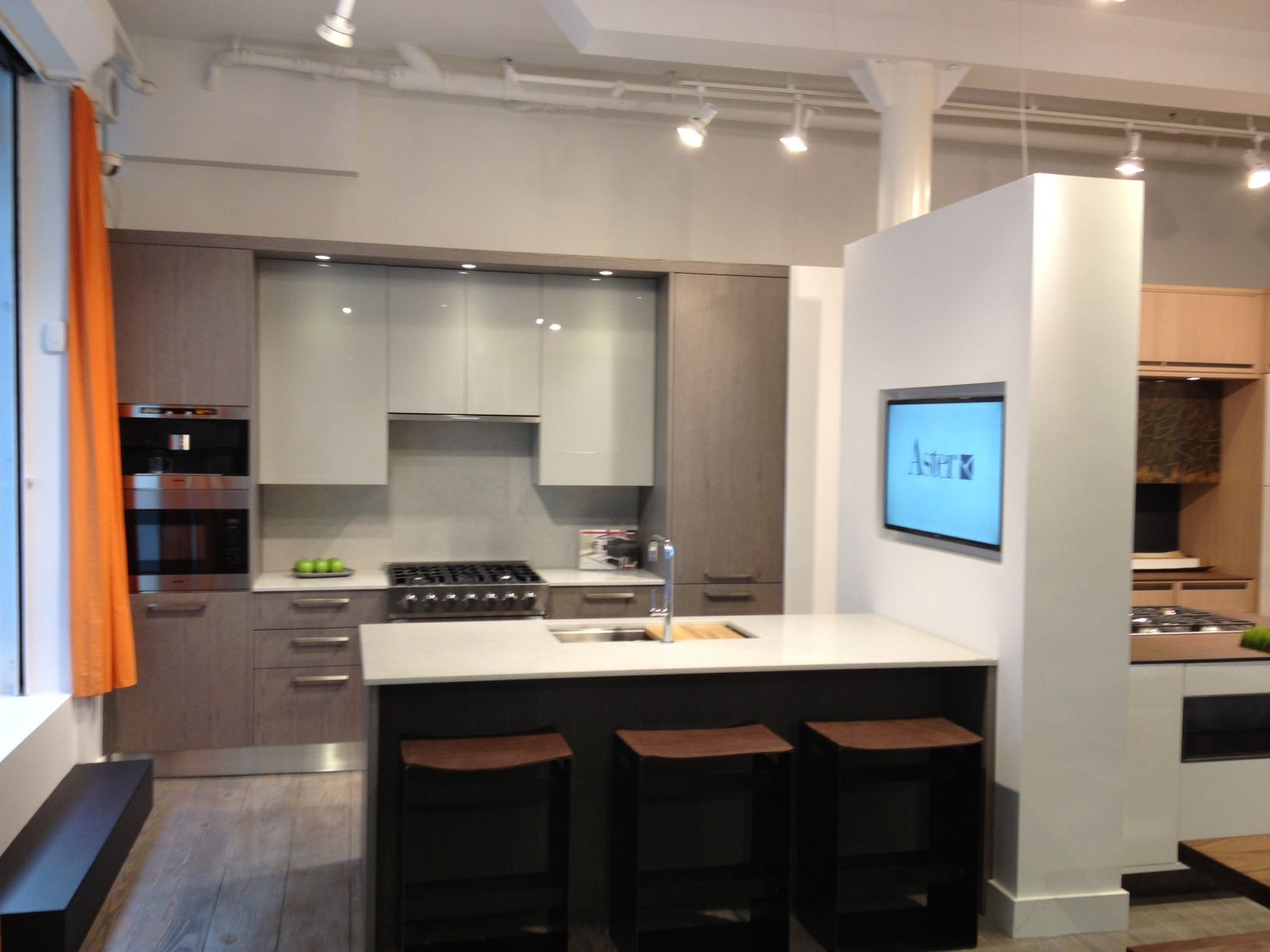 Gray Veneer Kitchen At Urban Homes Showroom In Nyc  Contemporary Inspiration Modern Kitchen Cabinets Nyc Decorating Design