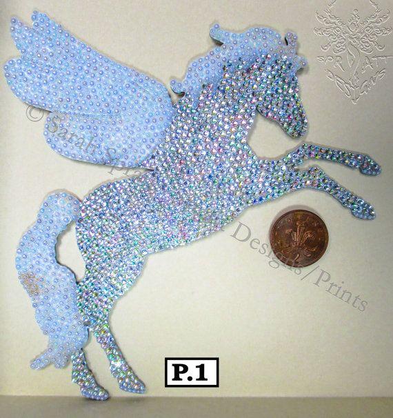 Diamante embellished Pegasus P.A by SprattPrints on Etsy