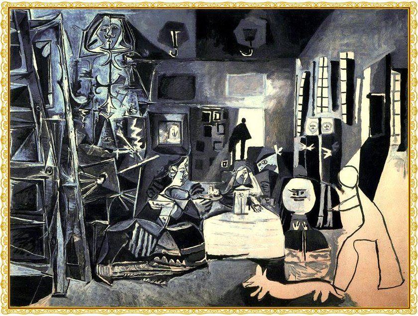 """Las Meninas, de Picasso, 1957_Etapa Final. Está pintura la he elegido por que me encanta, es toque propio de Picasso, al hacer una reinterpretación de la obra original """"Las Meninas"""" de Velázquez, sí ya adaptada a las técnicas que el pintor fue adquiriendo en su carrera."""