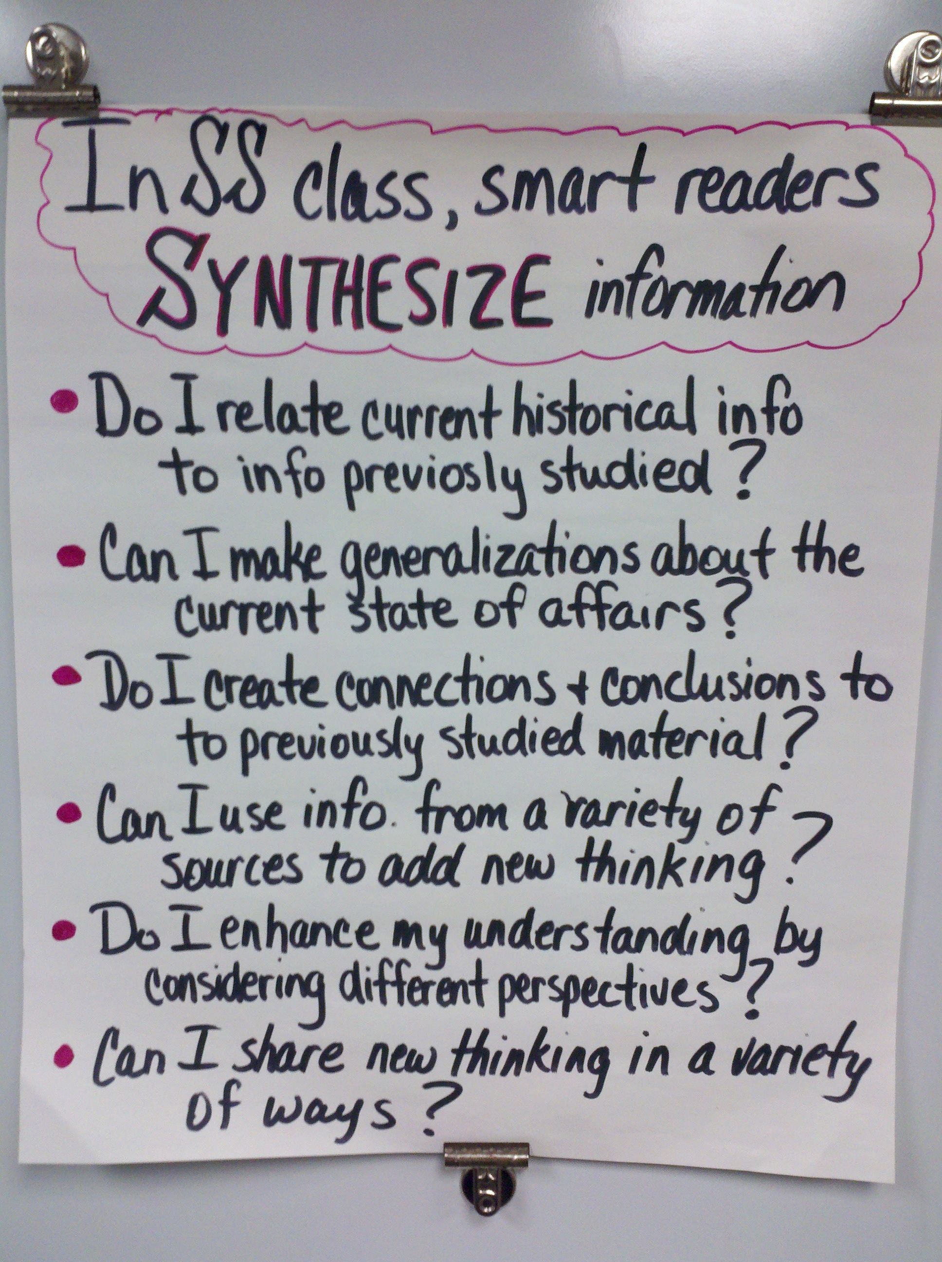 """synthesizing"" Anchor Chart Social Studies High School"