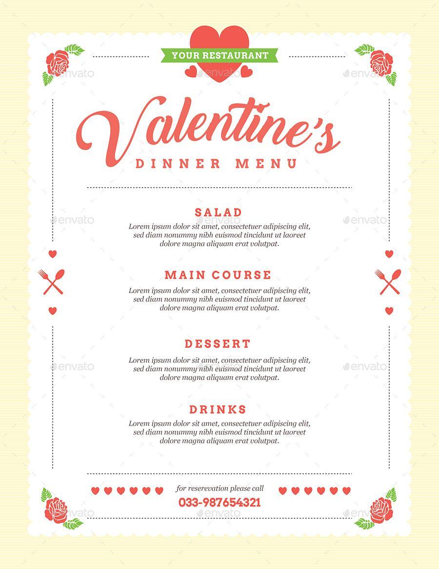 Valentine Diner Menu Menu Template Menu Design Free Printable Menu Template