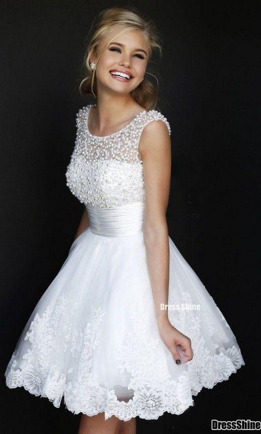 Wedding Rehearsal Dinner Bridal Shower Wedding Reception Short Wedding Dress Bridal Party Attire Lace White Dress