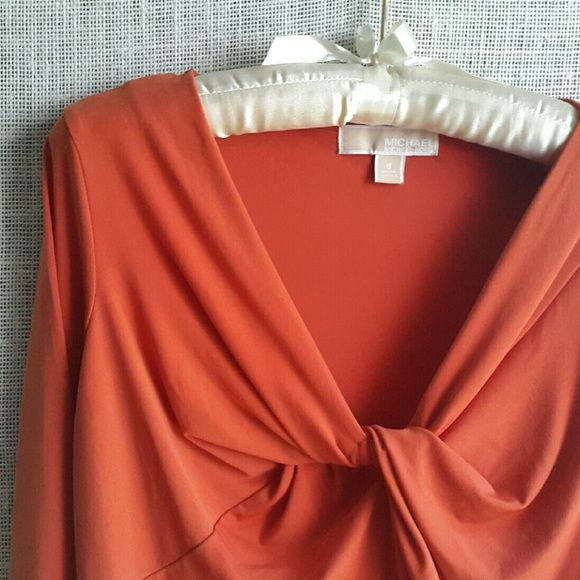 MICHAEL by  Michael Kors Twist Front Top Soft jersey top in deep orange. V neck with twist front detail. Beautiful top. MICHAEL Michael Kors Tops Blouses
