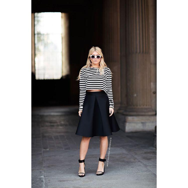 A Line Black Skirt Midi