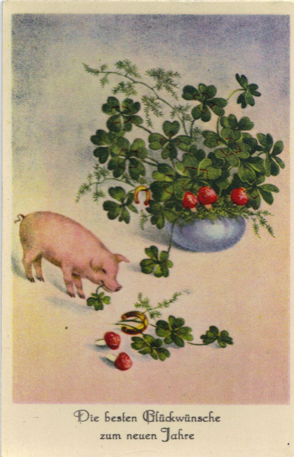 Neujahr Glücksklee Hufeisen Glückspilz Glücks Schwein