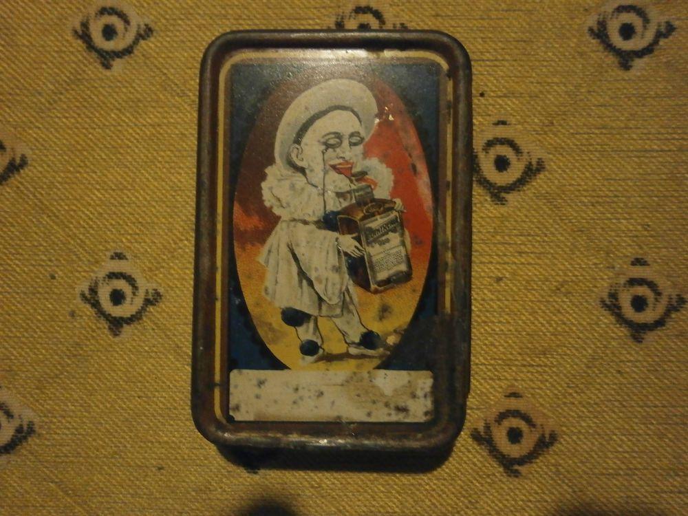 rare boite tole fer cointreau jeux de carte ancien pierrot café bar bistro pub