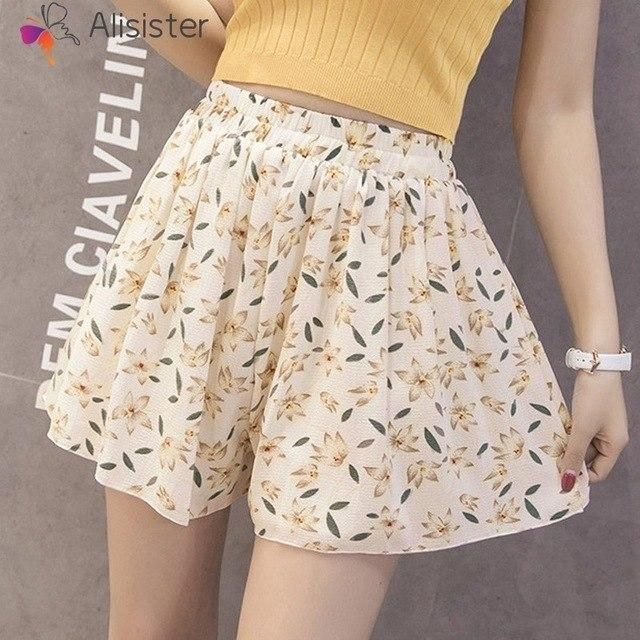 White Elegant Chiffon Shorts Women Summer Solid Elastic Waist Loose Pleated Skirts Shorts Homme Casual Office Streetwear #chiffonshorts White Elegant Chiffon Shorts Women Summer Solid Elastic Waist Loose Pleated Skirts Shorts Homme Casual Office Streetwear #chiffonshorts