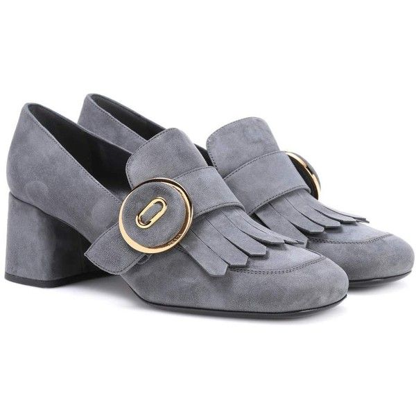 7e30bbfca62 ... czech prada suede loafer pumps 970 liked on polyvore featuring shoes  grey gray shoes prada loafers