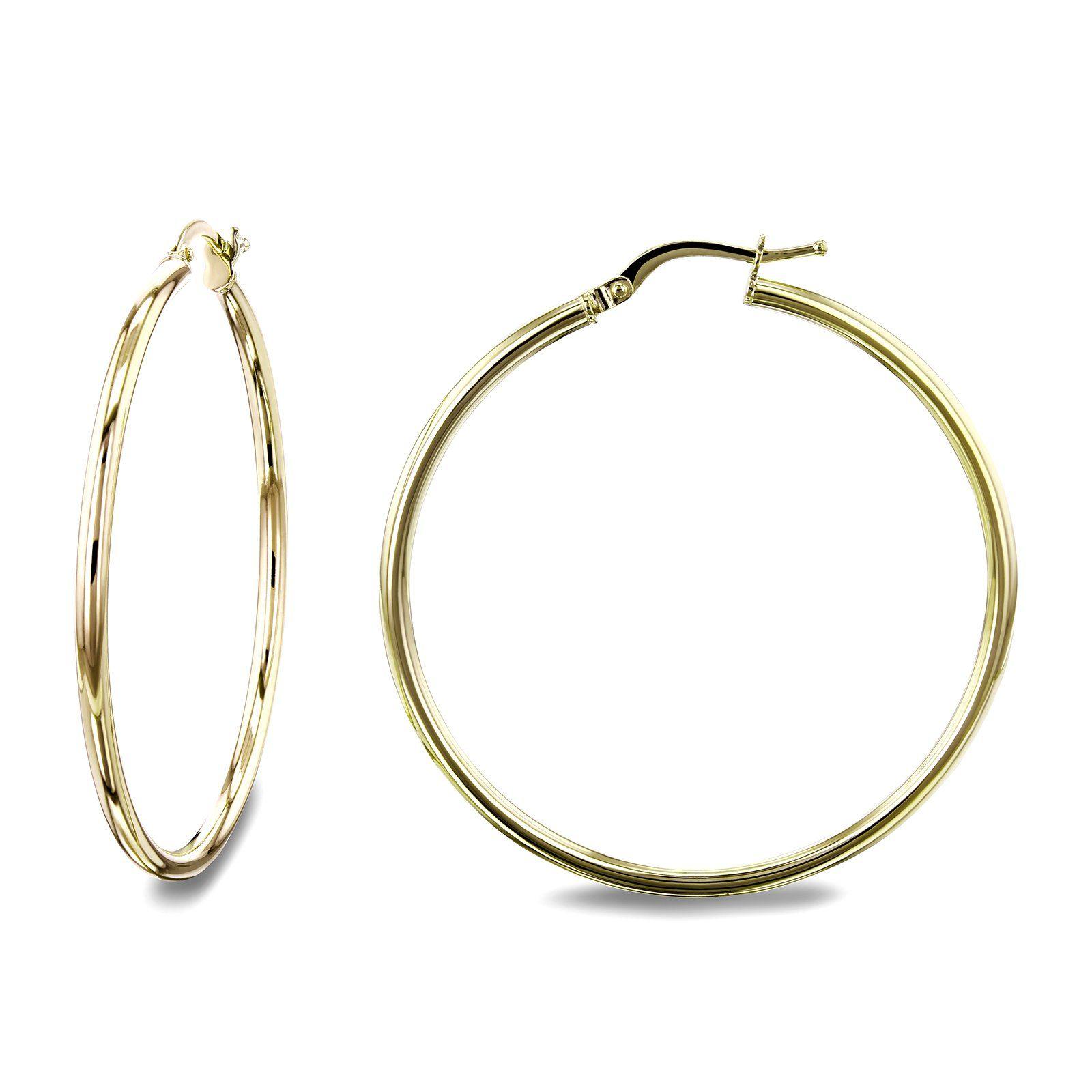 7d90fb4b58ef 14k Gold Hinged Hoop Earrings (35mm x 2mm) in 2019