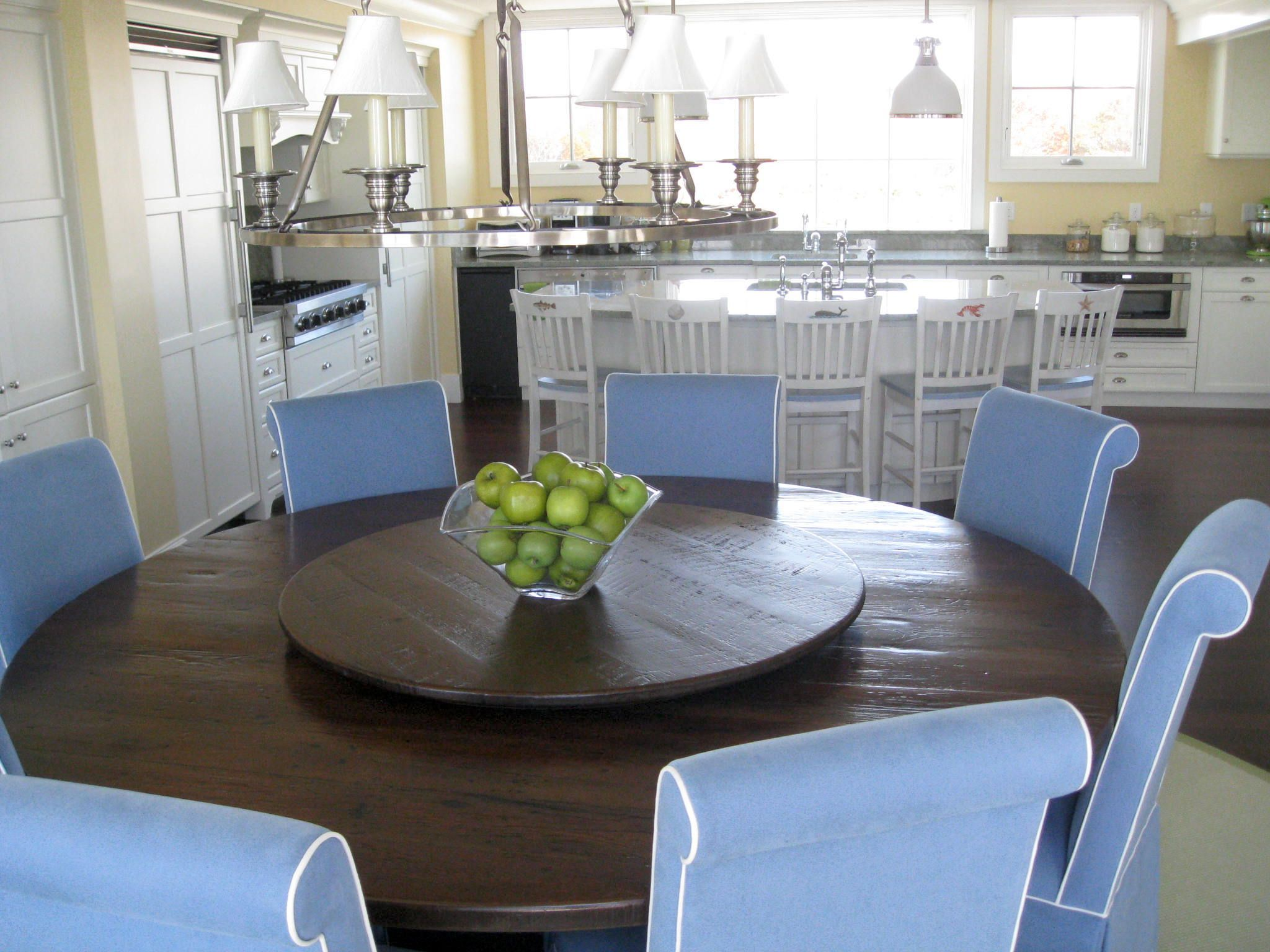 60 Inch Round Old Pine Farm Table In Antique Walnut Color In