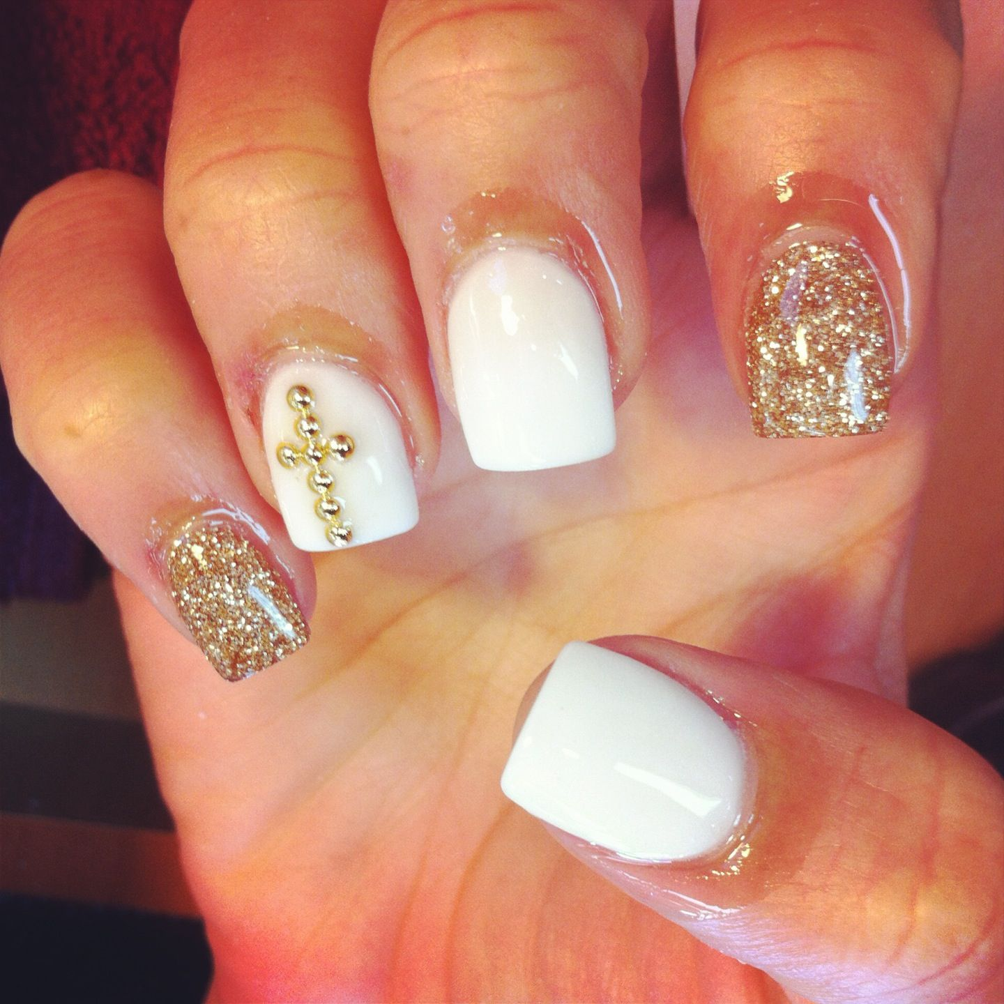 Love the white and champagne color (nails by Michelle) | nails ...