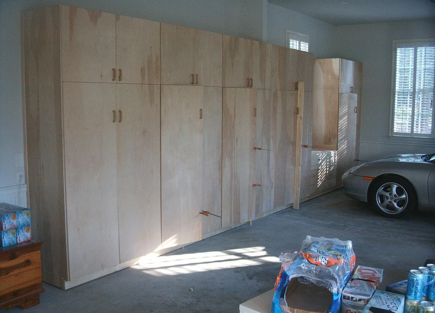 How to build an interior wall in the garage - Furniture Unfinished Custom Diy Wood Wall Garage Cabinets For Large Garage Spaces With Concrete Floor Tiles Ideas Garage Wall Cabinets