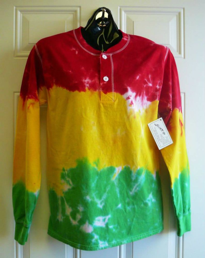 Men s Hanes Beefy 2XL Long Sleeve 3 Button Henley Shirt RASTA Hand Tie Dyed   Hanes  Henley  jawdropping  joint  jawdroppingnifty3  longsleeve  tiedye   love ... 0a2aeb07d