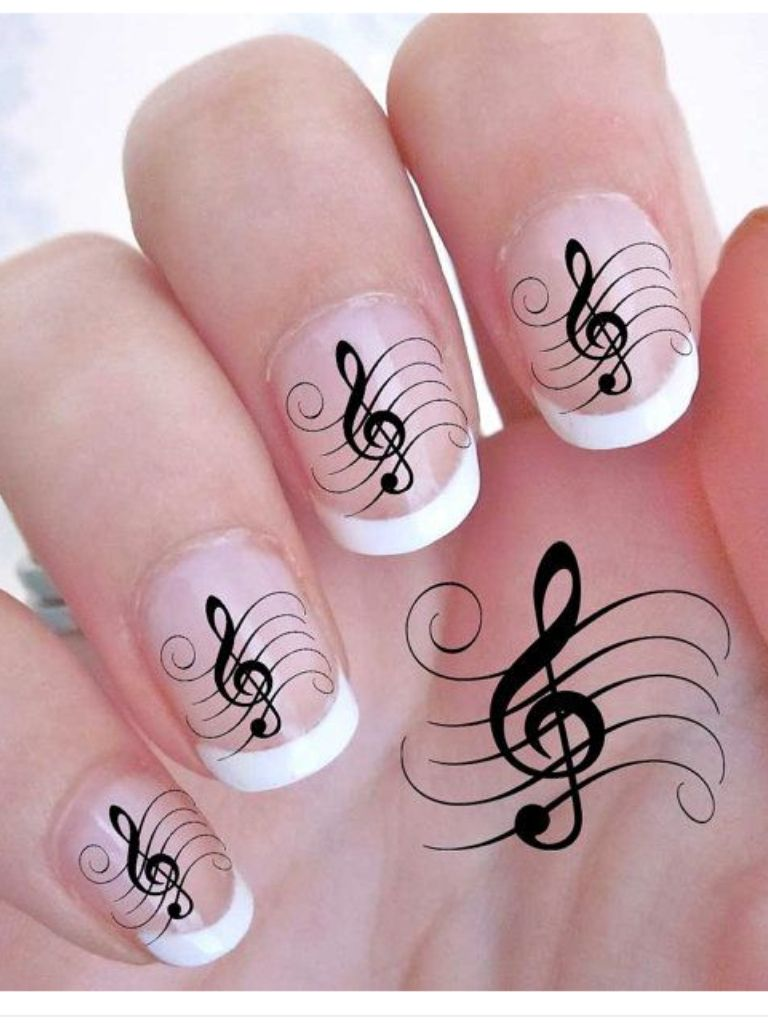 G Clef French Manicure Nails Music Notes Note Nail Art